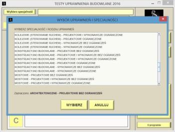 Dostępna nowa wersja programu TESTY UPRAWNIENIA BUDOWLANE 2016 - Okno wyboru specjalności